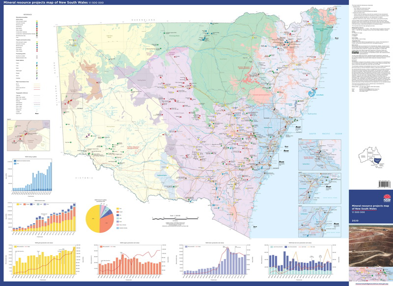Mineral resource projects of New South Wales, 1:1 500 000 map