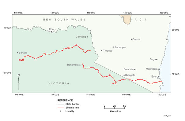 Location of the Southeast Lachlan Crustal Transect seismic survey (red lines)