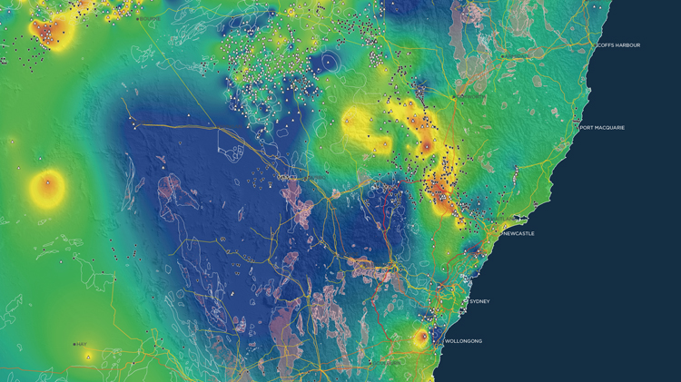Renewable energy resources map of NSW