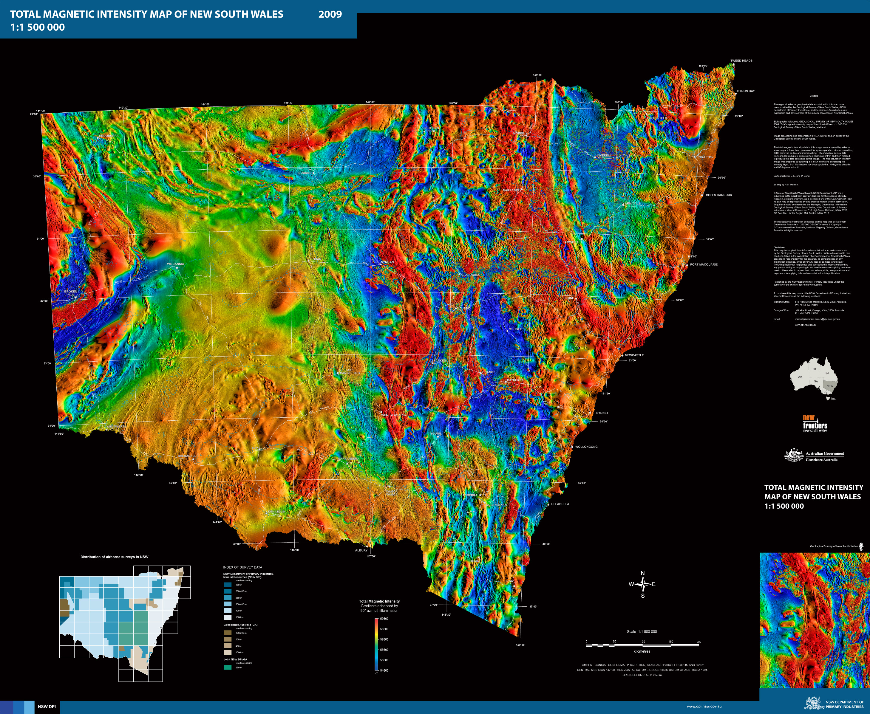 Total magnetic intensity map of nsw nsw resources and geoscience scanned map 38 mb gumiabroncs Choice Image