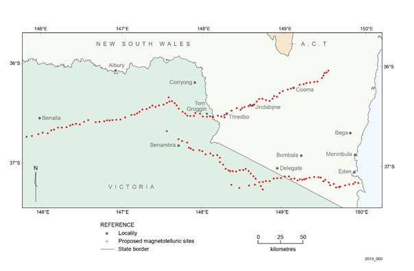 Map of proposed magnetitelluric survey sites